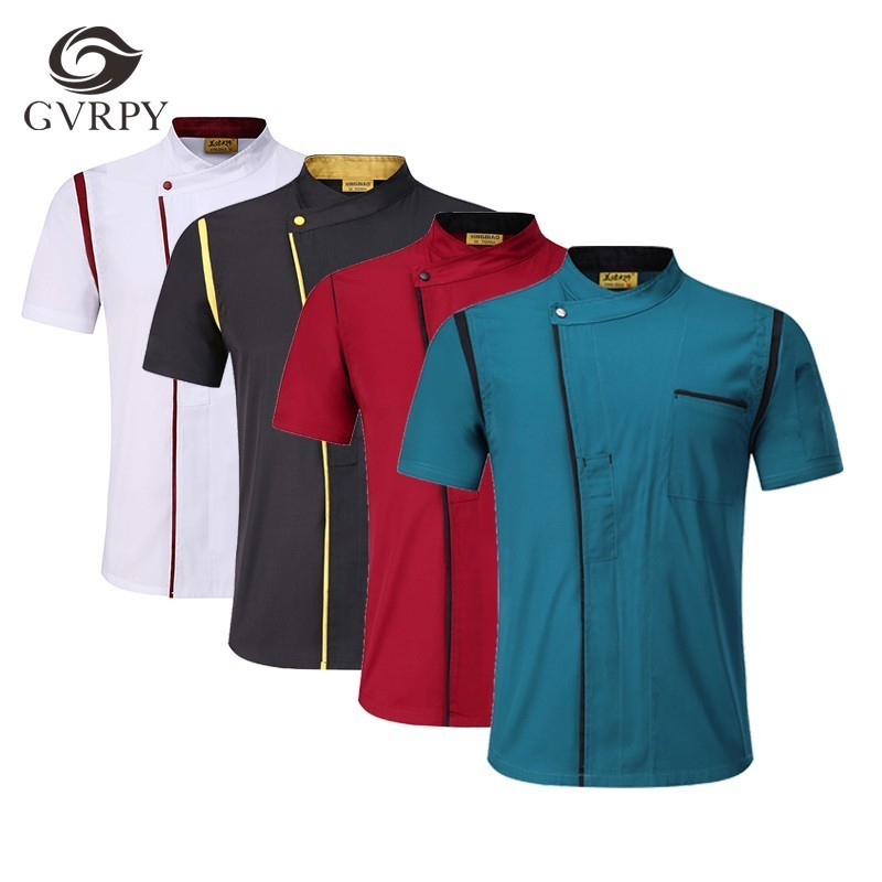 Unisex Kitchen Cooking Short Sleeve Jacket Apron Hat Canteen Restaurant Hotel Chef Uniform Cafe Hairdressers Salon Work Shirt