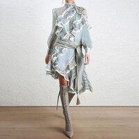 HIGH QUALITY Newest Fashion 2018 Designer Runway Dress Women's Long Sleeve Ruffle Striped Asymmetrical Dress