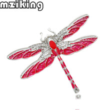 mziking Red Crystal Dragonfly Brooch Pin for Women Rhinestone Broches Animal Broche Jewelry Clothes Accessories Party Gift Brosh(China)