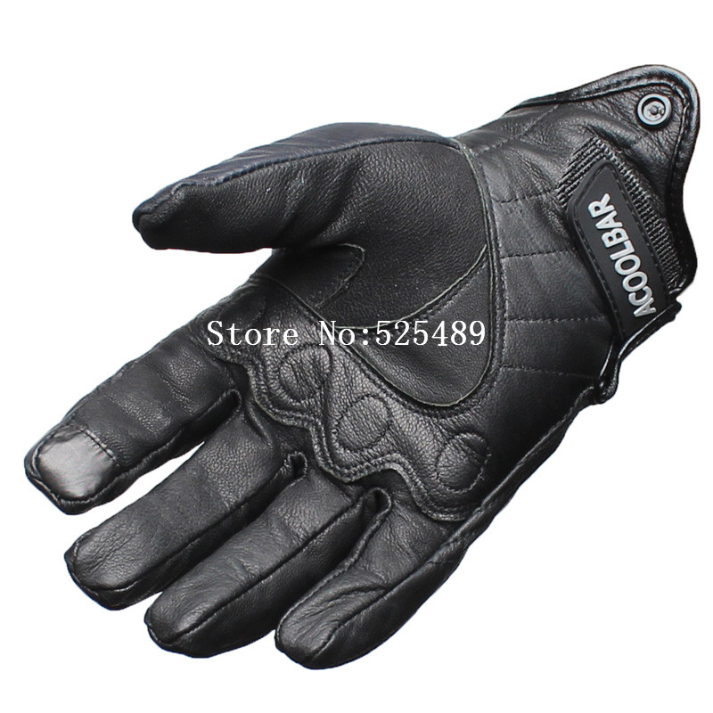 Black Real Leather Full Finger Men Motorcycle Gloves Outdoor Waterproof Touch Screen Motorcycle Protective Gears Motocross