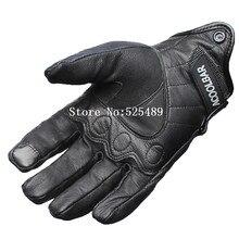 Черный Натуральная Кожа Полный Палец Мужчины Мотоцикл Перчатки Открытый Водонепроницаемый Сенсорный Экран Мотоцикла Защитная Gears Мотокросс Перчатки