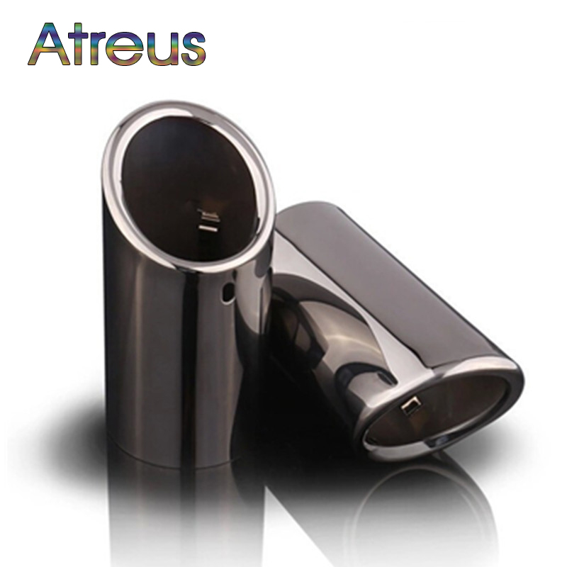 Atreus For 2011 <font><b>2012</b></font> 2013 <font><b>VOLVO</b></font> S60 V40 V60 <font><b>XC60</b></font> Stainless steel Car Automobiles Exhaust Muffler Pipe Tip Cover Car <font><b>Accessories</b></font> image
