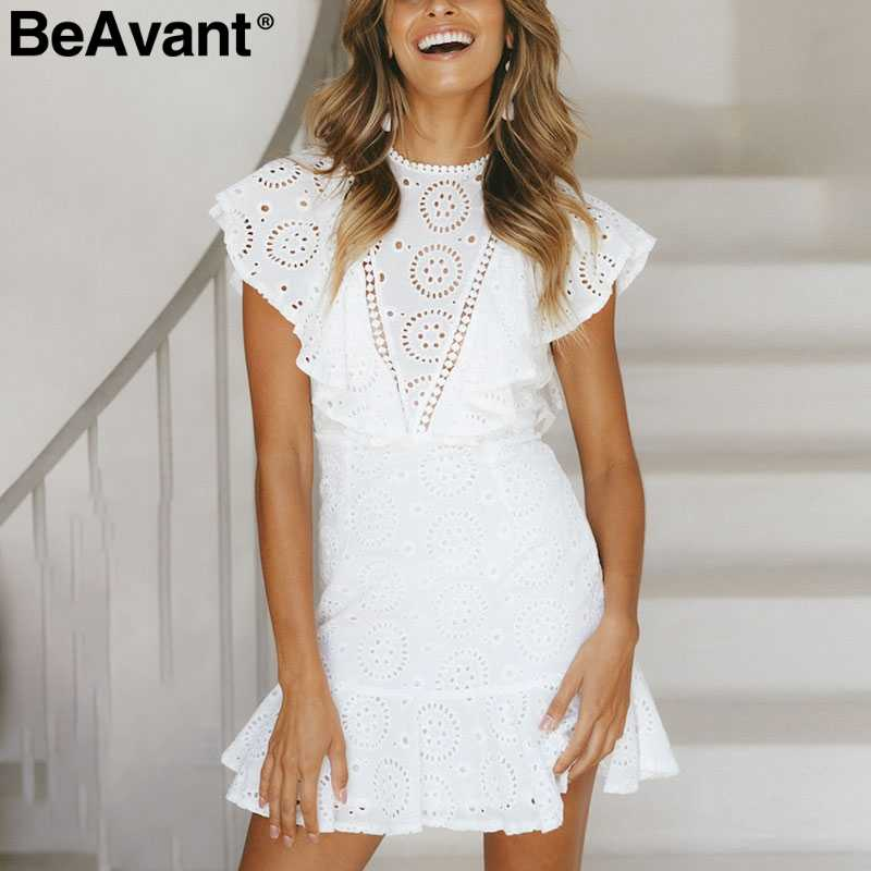 151d7d760d BeAvant Elegant ruffles cotton white dress women Hollow out embroidery mini  dress femlae High waist summer