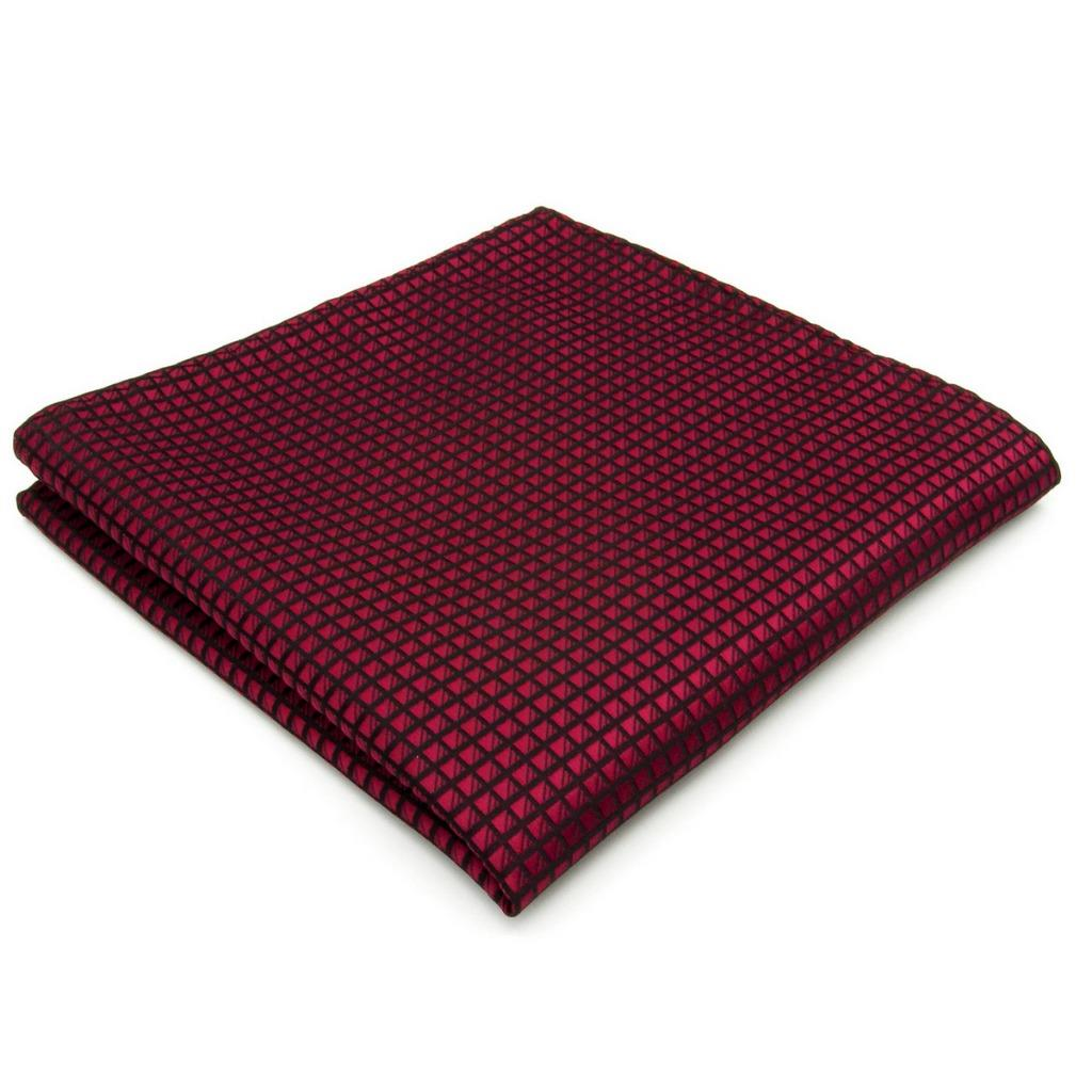 UH25 Solid Red Mens Pocket Square Silk Fashion Classic Hanky Brand Wedding Handkerchief