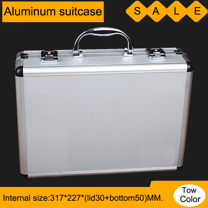 Toolbox Aluminium Tool Case Magic Props File Storage Hard Carrying Box Hand Gun Case Locking Pistol With Foam 33*24*9.5 CM