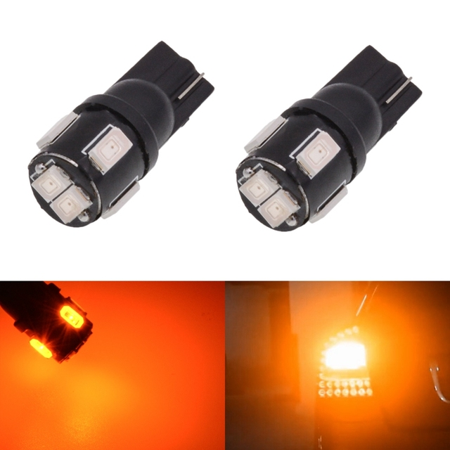 Katur T10 W5W 168 Led Bulbs 5630 6-Smd Auto Car LED Dome Map Trunk License Plate Light Lamp Bulb T10 Led Amber Orange Lighting