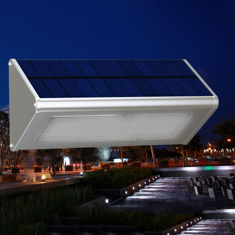 ФОТО Outdoor Solar Powered Aluminium Alloy Triangle LED Night Light Microwave Radar Induction for Outside Wall Hallway Street Porch