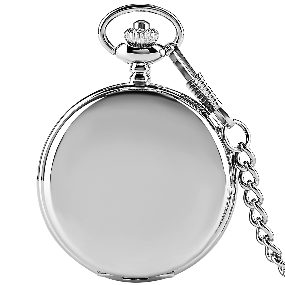 Smooth Silver Pocket Watch Full Hunter Pendant Chain Quartz Watches Unisex Men Fob Chain Mirror Pocketwatch Hand Around Reloj