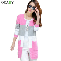 Spring Summer Women Cardigans With Pockets Striped Ladies Tops Elegant Long Sweaters 2016 Crochet Femme Plus