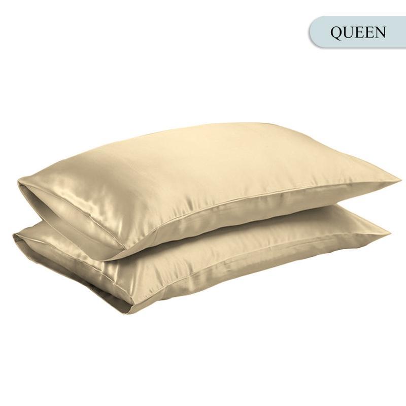 Queen/KING Silk Satin Pillow Case Bedding Pillowcase Smooth Home White Black Grey Khaki Sky Blue Pink Sliver 19