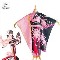 ROLECOS FGO Кара не Kyoukai Ryougi Косплей Shiki костюм судьба Grand Заказ Цветок кимоно Косплэй Женская юката Сабер платье форма