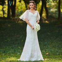 Dressv Long Wedding Dresses Spaghetti Straps Short Sleeves Lace Sweep Train Zipper Up Mermaid Custom Elegant