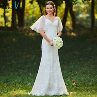 Dressv Long Wedding Dresses Spaghetti Straps Short Sleeves Lace Sweep Train Zipper Up Mermaid Custom Elegant