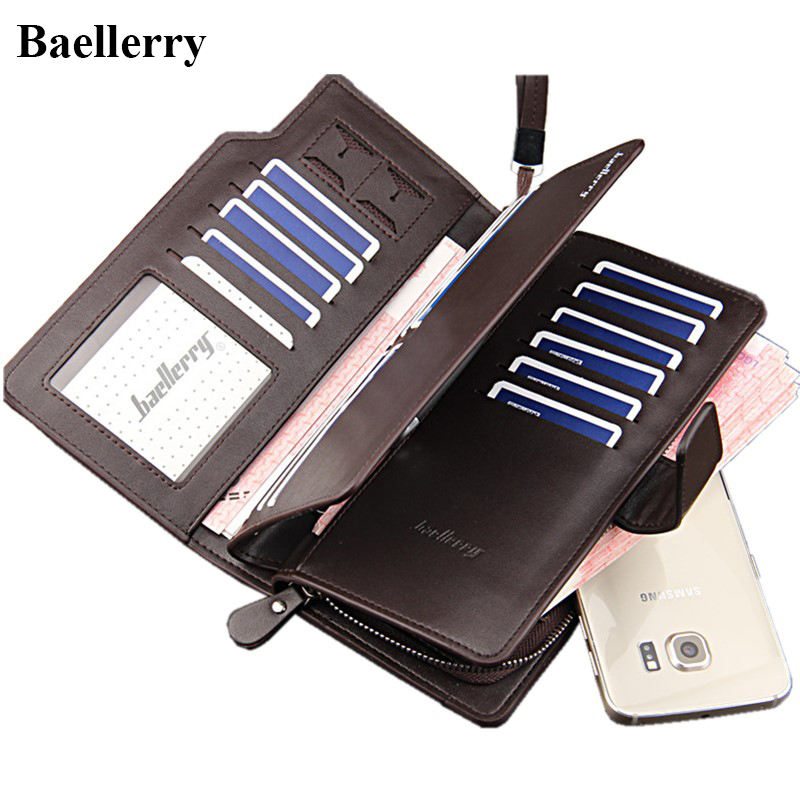 Hot Sale Brand Leather Wallets Men Long Hasp Purses Male Clutch Phone Wallets Man Money Bags With Card Holders Business Style 2016 famous brand new men business brown black clutch wallets bags male real leather high capacity long wallet purses handy bags