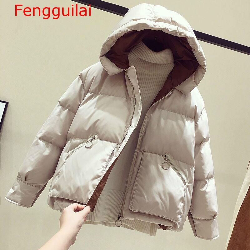 Women Coat 2019 Winter Short Jacket Loose   Parkas   Thickening Warm Coat Hooded Female Cotton-padded