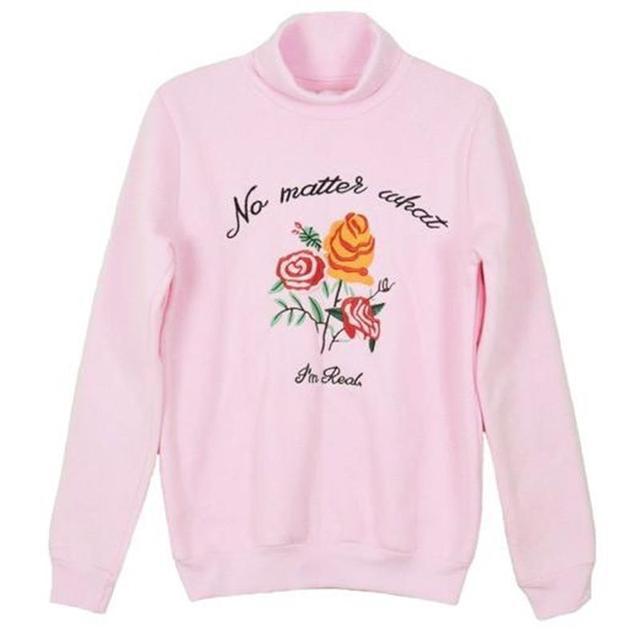 5f1ae2acba6 2018 Women's Tunic Japan Ulzzang Retro High Neck Embroidery Rose Svitshot  Fleece Letter Female Kawaii Sweatshirt