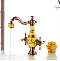 New Arrivals Top Grade Brass And Jade Basin Sink Faucet Deck Mounted Bathroom Water Tap Hot