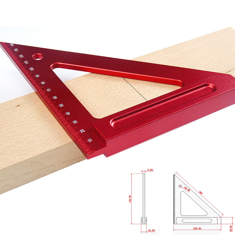 150mm aluminum alloy triangle ruler woodworking triangle ruler square ruler woodworking Measuring Tool Scribe Mark