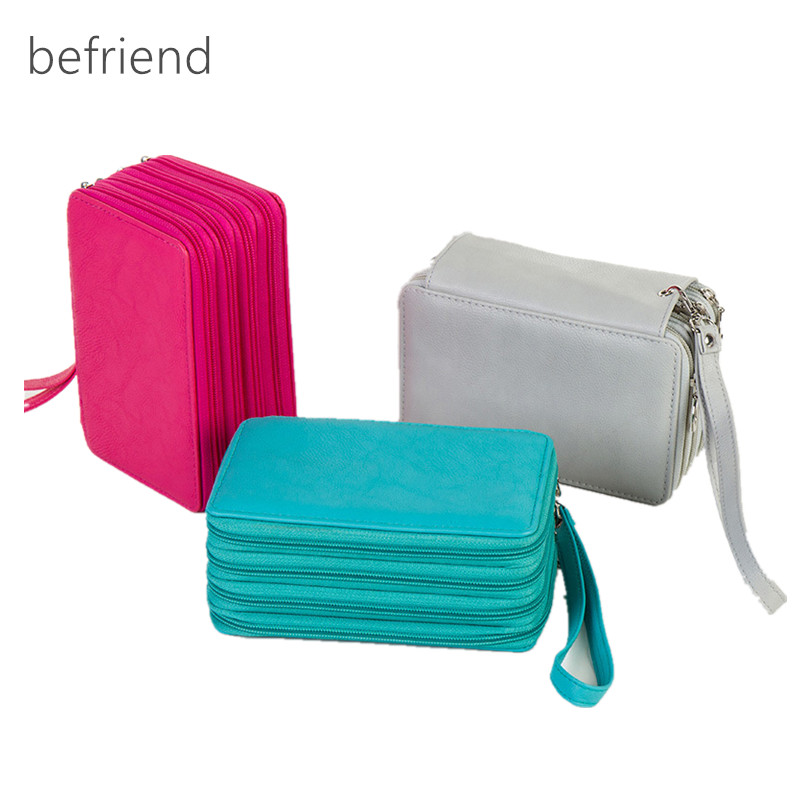 New color pencil case 72 holders school stationery pencil case box pouch PU leather student pencil bags cosmetic bags large metallic pu pencil case