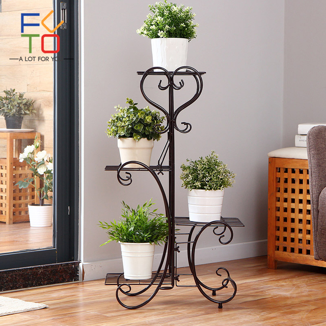 4 Tier Plant Pot Stand Rack Metal Browse Flower Pots Trays Holder Garden Indoor Outdoor Plants