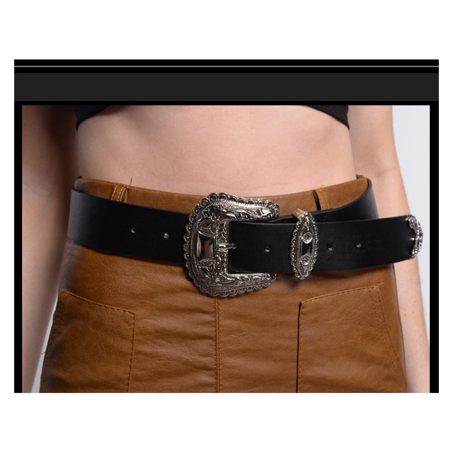 Fantastic Big Silver Pin Buckle Designer Belts For Women Western