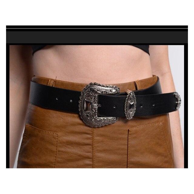 Grande fantástico plata Pasadores hebilla diseñador cinturones para las  mujeres Western cuero negro cinturón vestido señora 586483e3a0e0
