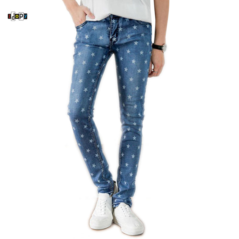 Idopy Men`s Fashion Jeans Star Printed Skinny Fit Youth Pencil Denim Pants For Young Man sales sahoo bicycle bike repairing kit tools set mini portable tyre tire inflator pump compressed co2 cylinder patch crowbar