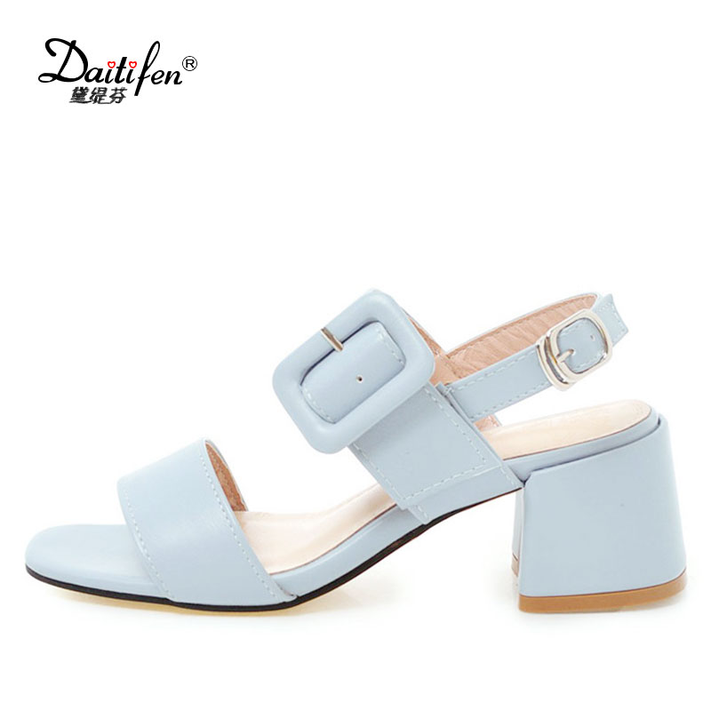 Daitifen 2018 New ladies Party wear shoes high heel Sandals concise Candy color Buckle strap women Open toe Casual Summer shoes taoffen women high heel sandals open toe pleated concise slippers solid color shoes women footwear summer party size 34 39