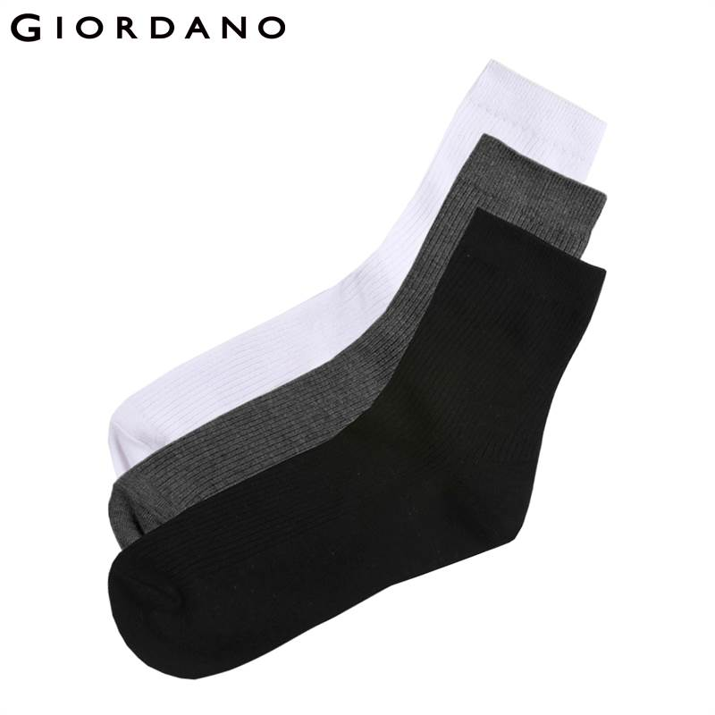 Giordano Men Socks 3 Pairs-Pack Basic Socks Cotton Plain Socks For Men Soft Calcetines Hombre Breathable Meia Masculina De Marca