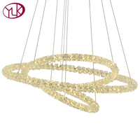 Youlaike Modern LED Chandelier Lighting Three Rings Hanging Crystal Lighting Fixture Living Dining Room Cristal Lustre