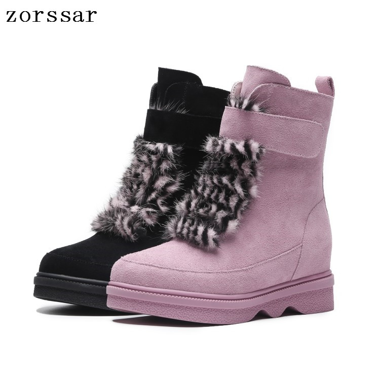 Zorssar Hot Women Boots Winter Warm Snow Boots Women Botas Mujer Lace Up Fur Ankle Boots Ladies Winter Women Shoes Pink women boots 2016 fashion botas femininas warm winter snow boots female lace up fur ankle boots 7 color flats ladies shoes