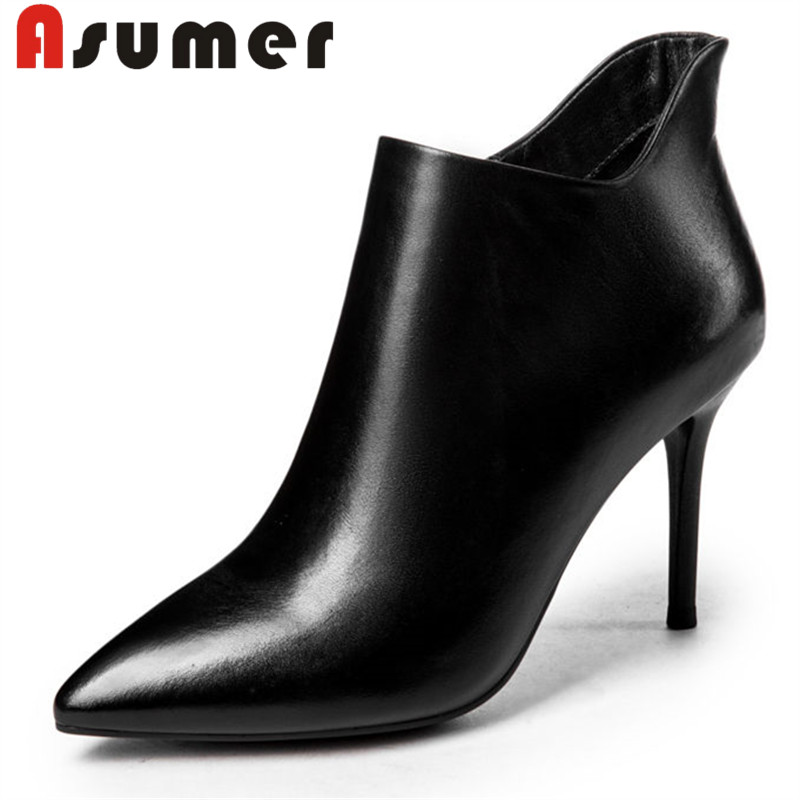 ASUMER 2018 HOT SALE size 34-39 autumn boots high heels ankle boots for women pointed toe solid simple genuine leather bootsASUMER 2018 HOT SALE size 34-39 autumn boots high heels ankle boots for women pointed toe solid simple genuine leather boots