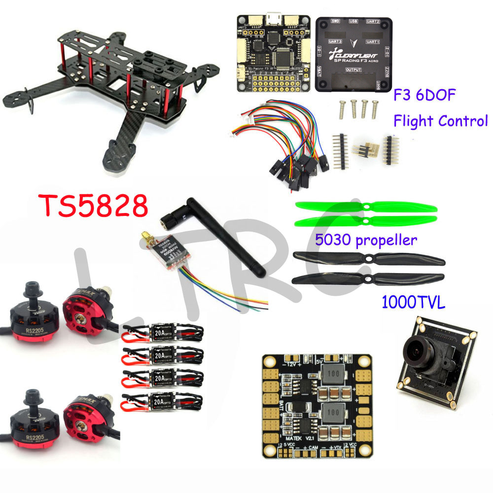 RC plane 250 Mm Carbon Fiber Mini Quadcopter Frame F3 Flight Controller emax RS2205 2300KV  Motor carbon fiber mini 250 rc quadcopter frame mt1806 2280kv brushless motor for drone helicopter remote control