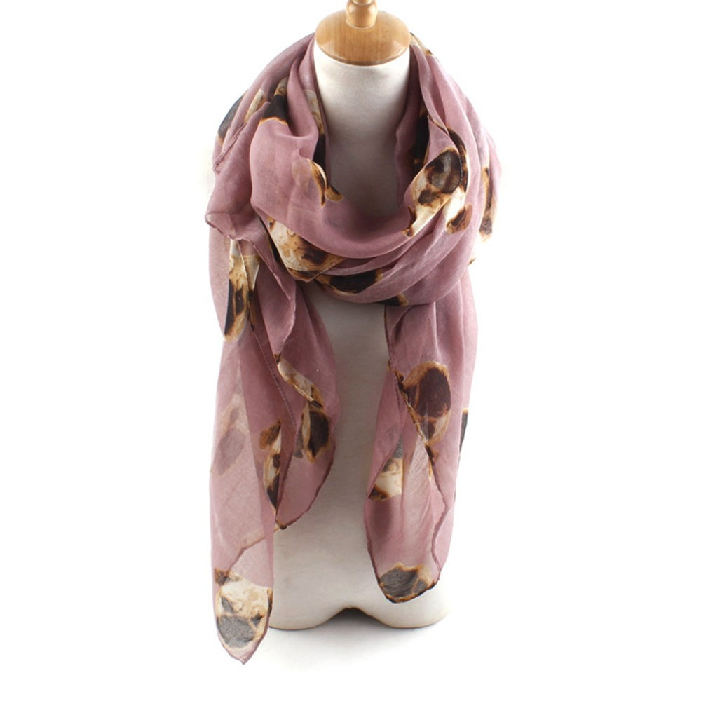 ladies scarves with dogs on colour pink