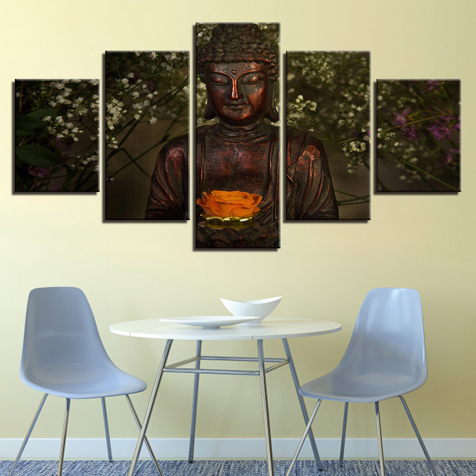 Canvas Art Prints Photo Wall Modular Artwork Picture 5 Panel Buddha Modern Frames For Paintings Decoration Kids Room Poster