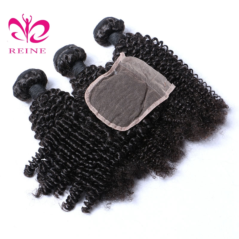 REINE kinky curly brazilian natural hair best hairstyles fnone remy lace closure 4bundles with closure free shipping