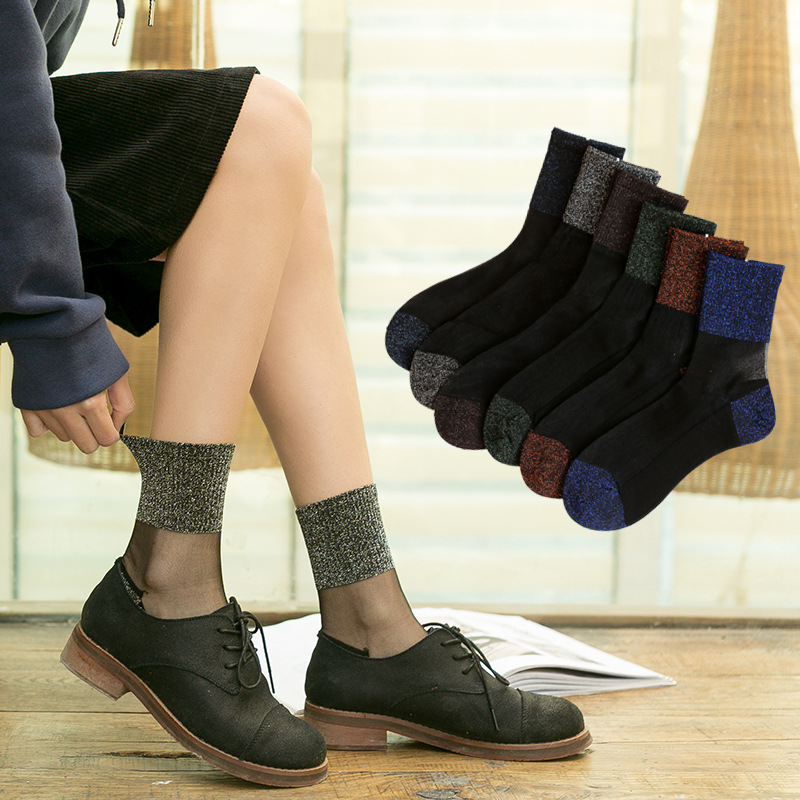 Autumn And Winter Crystal Socks Sexy Gold And Silver Socks With Slip Resistant Cotton Bottom Womens  Socks