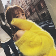 yellow/red/green/sky blue loose sweater women korean style slash neck plus size loose imitate mink cashmere sweater top 2017