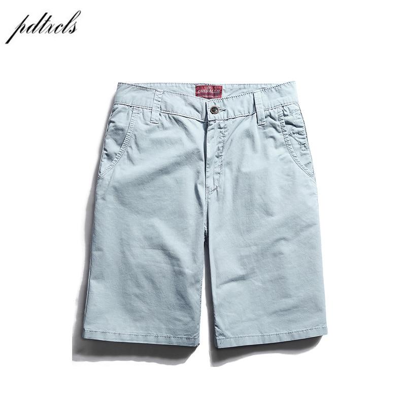 PDTXCLS 2018 100% Cotton New Summer Casual Shorts Men  Solid Slim Man Beach Shorts Homens Colors