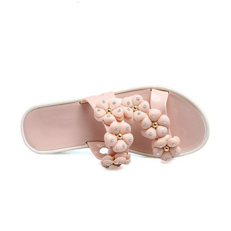 AicciAizzi Size 36-40 Ladies Concise Platform Open Toe Shoes Women Sweety Flower Slip On Slippers Girls Leisure Beach Footwear