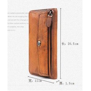 Image 5 - Aetoo couro artesanal retro longo carteira multi purpose fivela juventude multi cartão bit carteira de couro com zíper vintage