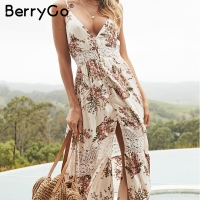 BerryGo Striped floral print boho dress women Hollow out button lace summer dress female V neck midi casual dress vestidos 2018