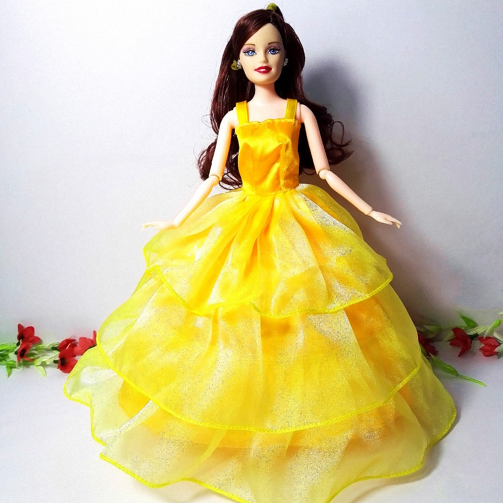 R 3661 9 De Desconto1 Pc Boneca Vestidoamarelo Dourado Laço Luxo Noiva Boneca Multi Camadas Vestido De Noite Para A Boneca Barbie Presente In
