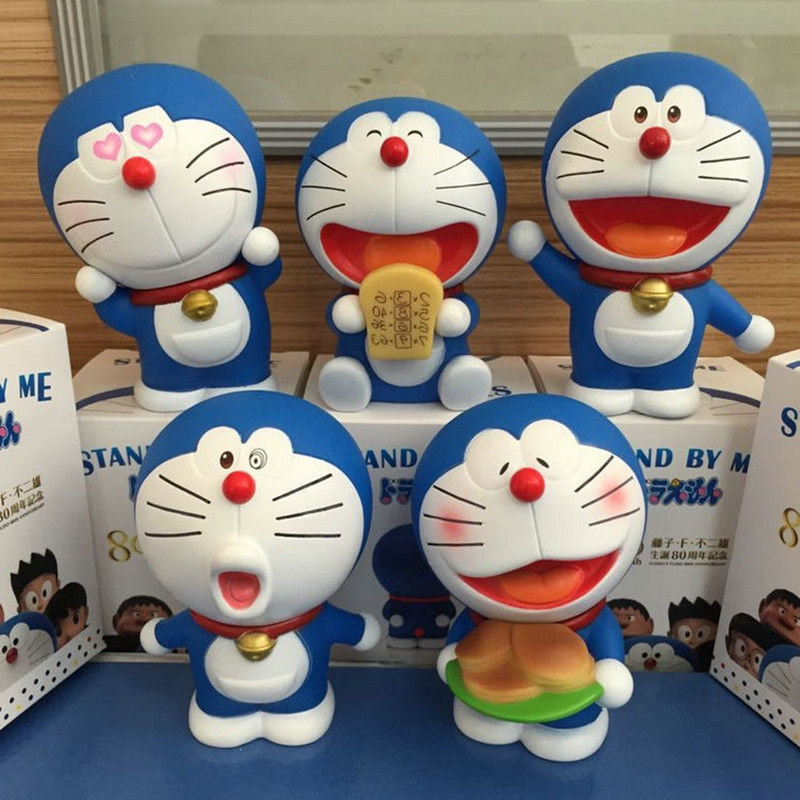 Japanese anime figures Doraemon 5pcs/set Car Decoration Japan Comics Doraemon Garage Kits Doll toy