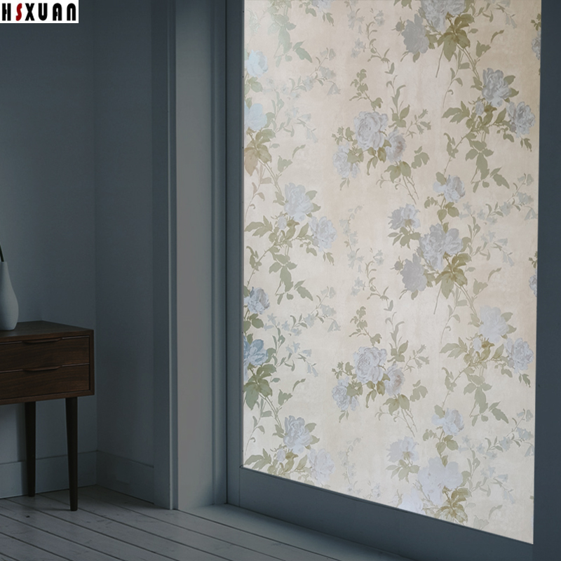 privacy frosted window film 70x100cm 3d flower self adhesive decorative stained static glass window stickers hsxuan - Frosted Window Film