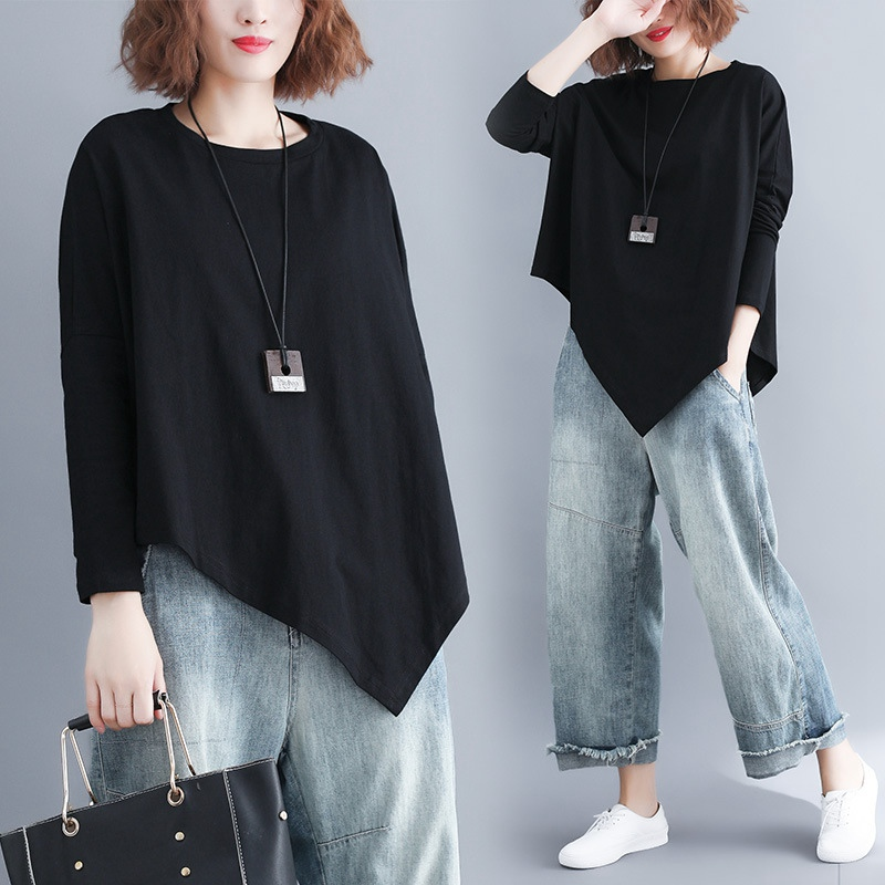 Batwing Sleeve T-shirt Women Casual Plus Size Asymmetrical Tops Long Sleeve Oversize Tees Black MMHH737 7