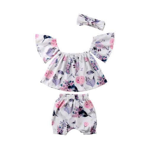 3Pcs Newborn Baby Girl Floral Princess Sunsuit Sleeveless Blouse Crop Top Shorts Romper Kids Girls Clothes Summer Clothing Sets