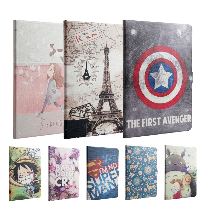 New 2017 For iPad 9.7 / Air / Air 2 Fashion painted Pu leather stand holder Cover Case For iPad 5 / 6 / Air2 Tablet + Gift new fashion tablet pu leather stand case