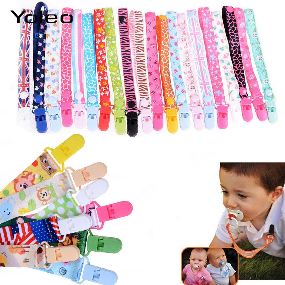 Adjust Baby Pacifier Clips Chain Baby Nipple Holder Chain Ribbon Dummy Holder Soother Pacifier Clips Strap For Infant Feeding