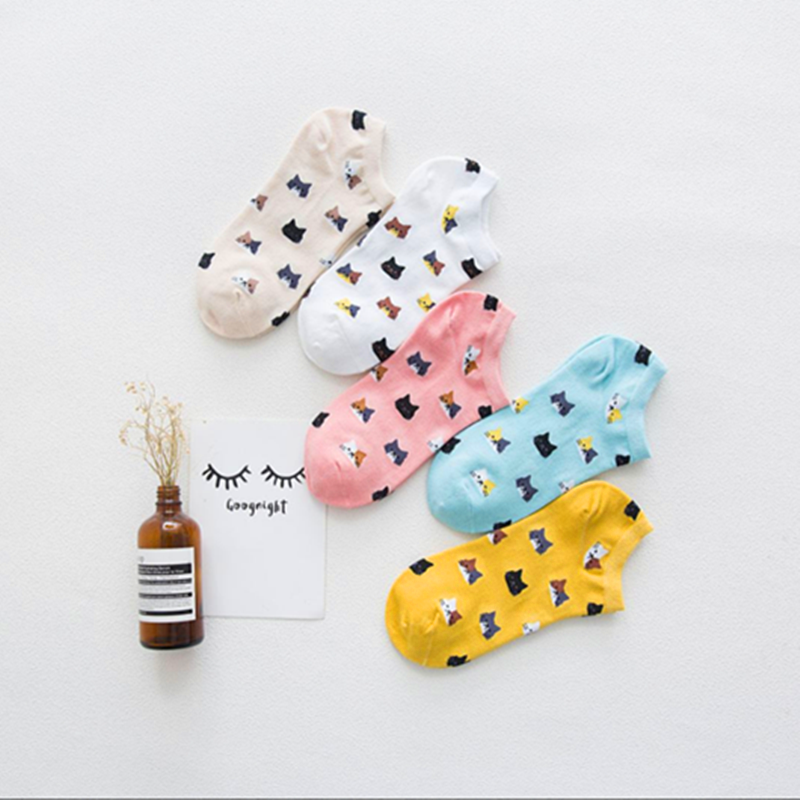 2019 New Fashion Cat And Dog Solid Color Cotton Socks Female Summer Short Socks Slippers Women Casual Soft Socks